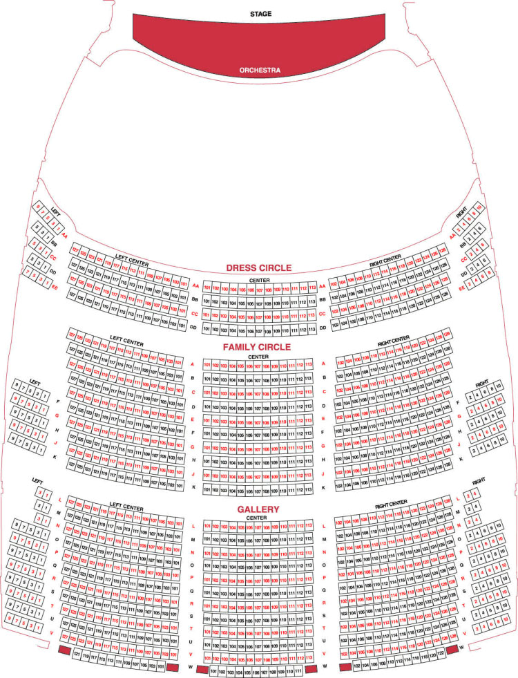 Gallery Level Seating Chart